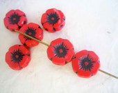 Poppy Beads, red Czech glass beads, Flower Beads, 6 pieces, 12mm, Rememberance Day, Veteran's Day