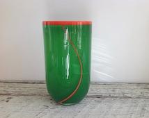 Vintage Mod Green and Orange Art Glass Vase, Green with Orange Hand Blown ArtM Glass Vase, Modern Glass Vase
