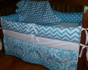 SALE***Turquoise blue and White Chevron/Dot /Damask  crib bedding set