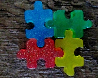 Jigsaw Puzzle Childrens Glycerin Soap Favors Gifts Prizes Set of Four 1 oz. each