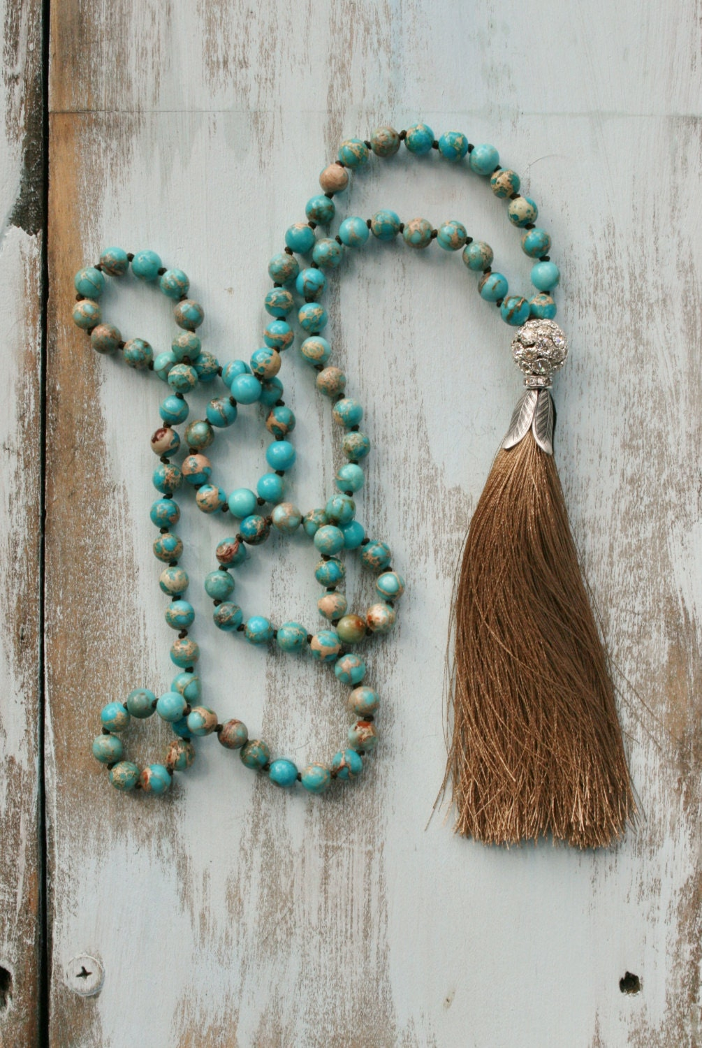 beaded tassel necklace turquoise necklace long boho. Black Bedroom Furniture Sets. Home Design Ideas