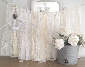 Lace Wedding Garland, Shabby Chic Wedding Decor, DIY Vintage Wedding Decor, Vintage Rag Garland, Vintage Baby Shower, DIY Baby Shower Ideas,