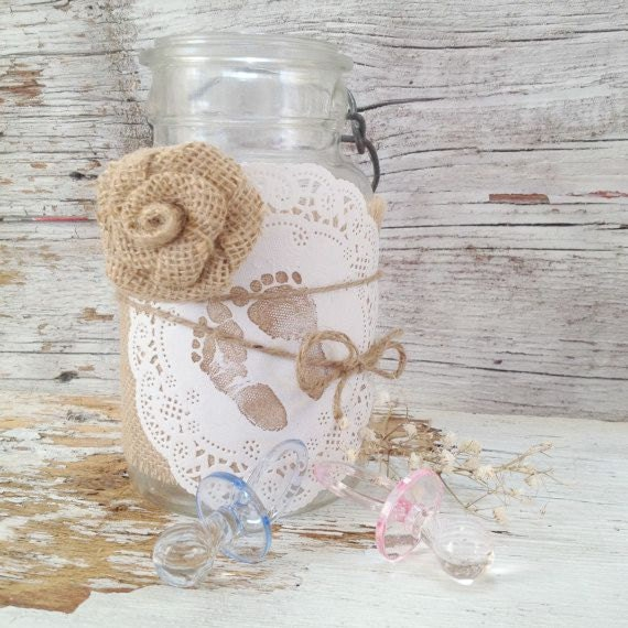 Vintage baby shower decor for jars shabby by
