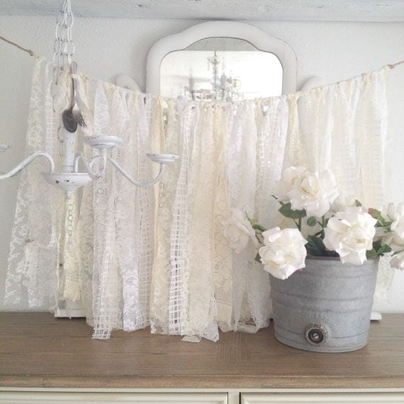 Lace wedding garland shabby chic wedding decor diy vintage - Decoration vintage pas cher ...