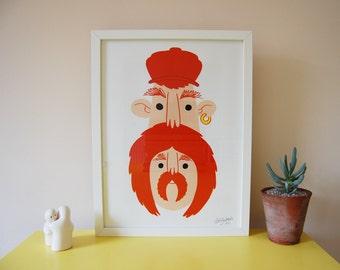 Two faced Felix Print - Framed