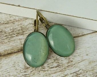 Earrings Bronze Oval mint green Wires Creolen