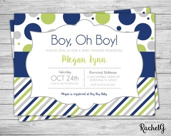 Baby Shower - Navy Lime Green - Digital Invitation PDF or JPG