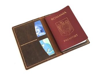 Leather Passport Wallet - Leather Passport Cover- Handmade Passport Holder