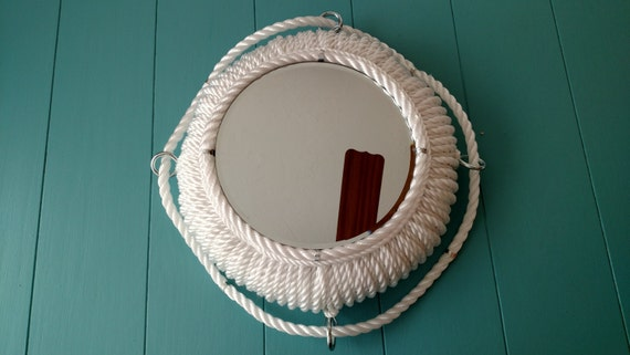 14 inch porthole style rope mirror metal accents nautical for Porthole style mirror