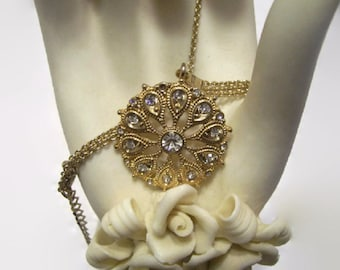 Vintage Pendant Necklace, Rhinestone Pendant Necklace, Medallion Necklace, Evening Necklace, Faux Diamond, Crystal Necklace, FREE SHIPPING