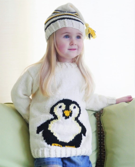 Free Knitting Pattern For Baby Cardigan : Penguin Childs Sweater and Hat Aran Knitting Pattern, Penguin Sweater an...