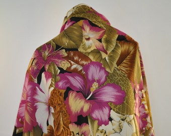 Vintage PRINTED BIG SHAWL with flower pattern...(038)