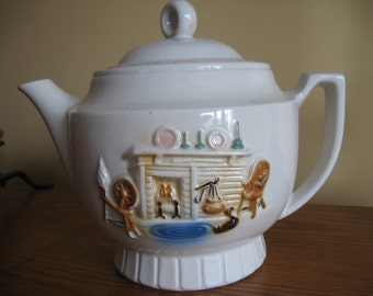 Porcelier Vitreous China Teapot / coffeepot - Fireplace Hearth Scene - Drip-o-lator