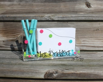Personalized Desk Organizer with Polka Dots