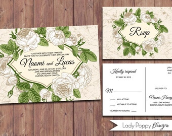 Vintage Floral Naomi Printable Wedding Invitation, rose, flower - DIY Invitation - Custom colors