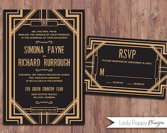Art Deco Simona Printable Wedding Invitation - DIY Invitation - Custom colors and text option