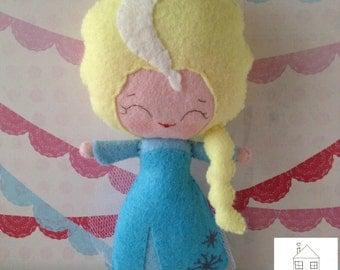 Elsa Frozen inspired Felt Doll Personalised