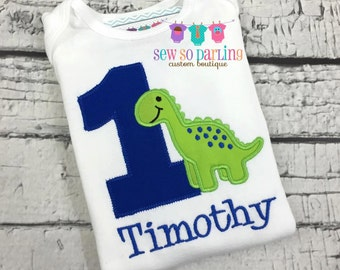 Baby Boy Dinosaur Birthday Outfit - Dinosaur Birthday Shirt - 1st Birthday Dinosaur Shirt  - Birthday shirt