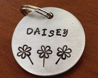 Large dog tag, pet id tag, custom id tag, tag with flowers, dog tag for dogs, personalized dog tag