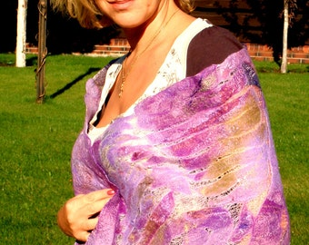 Felted Scarf made from Wool and Silk scarf Purple Lilac violet.
