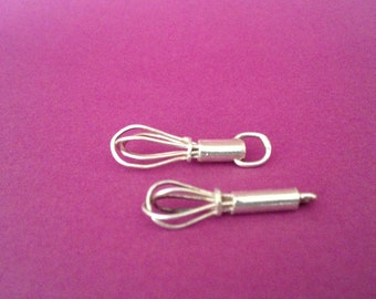 Handmade recycled silver miniature wisk