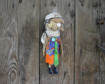 Cloth doll - Halloween doll - Embroidered face - Textile doll - Exrime primitive - Eco-frendly - Recycling fabrics - Oddly Sweet Plush  OOAK