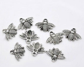 5 Antiqued Silver Tone Bee Charms