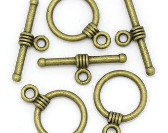 5 Antiqued Bronze Small Toggle Clasp Sets
