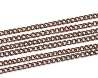 9' Antiqued Copper Curb Chain Open Link 4x3MM Links Continuous/Unfinished Ends