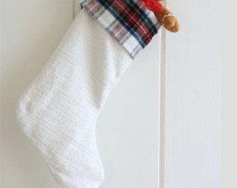 Christmas Stockings,  White Christmas Stockings, Plaid Stockings, Handmade Tartan Flannel Stockings, Stockings GreenwoodCorner