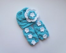 Baby Girl Hospital Outfit -Baby Girl Knit Hat and Leg Warmers-Newborn Baby Girl Outfit -Photography Photo Prop Set