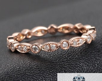Art Deco Full Diamond Milgrain Pattern Wedding Band 14k Rose Gold