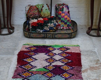 Purple Eyes Small Boucherouite Carpet - Vintage Moroccan Rag Rug - Handmade with Recycled Fabrics 140x83cm 55x32 inches