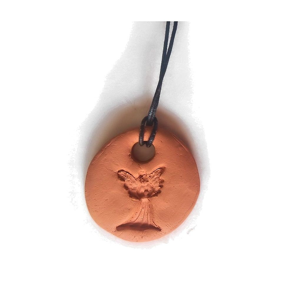 Terracotta Neck Pendant Diffuser ~ Angel terra cotta diffuser necklace with by