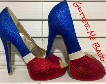 Red, white & blue striped heels