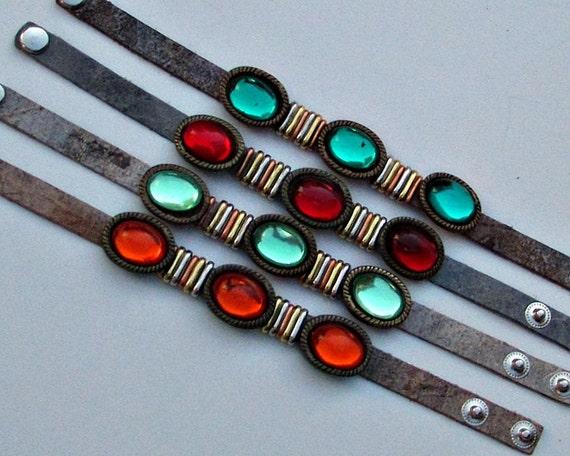 Boho Leather Bracelet,  Colorful Cuff Bracelet, Custom Bracelet