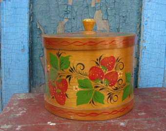 Vintage handmade wood box with lid and hand painted strawberry ornament- Country cottage chic - Rustic home decor.