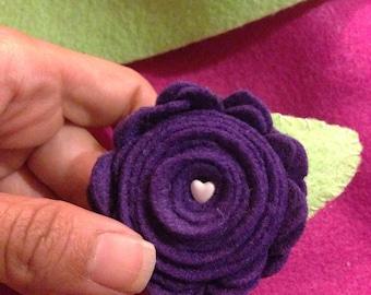 Large Purple Rosette Hair Clip