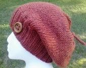 Woodland Slouchy Hat, Top Knot Hat, Knit Hat, Orange Hat, Slouchy Hat, Hipster Hat, Women's Hat, Fall, Winter