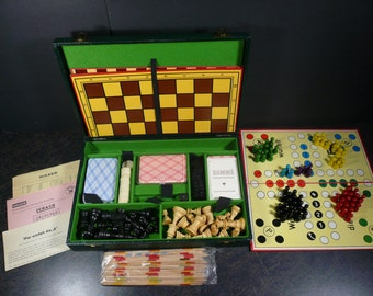 Vintage Messer Griesheim GMBH - Chess Checkers Cards - All in One Multiple Games - Germany