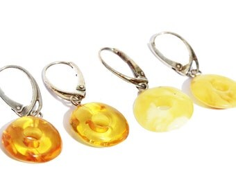 Honey or Butterscotch Baltic Amber Earrings - Circles/Dognats with sterling silver fittings. Comes with lovely gift box.