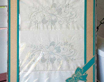 Vintage NOS Pillowcase Pair, Embroidered Whitework Cases, Butterflies, Royal Made, New in Original Box, New Old Stock, 1950's Cases, Cottage
