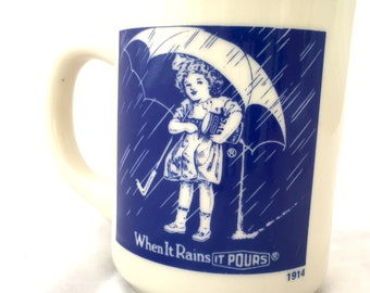 Morton Salt Girl Mug, Morton's Salt Girl Coffee Mug, When It Rains It Pours Cup, Morton Salt Advertising Mug 1914