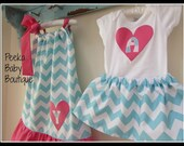 Coordinating Sister/Cousin/Friend Outfits with Pillowcase Dress and Skirt Outfit (Blue Chevron and Bright Pink ruffle)a