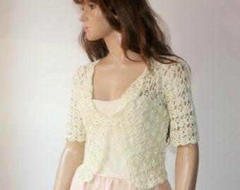 Weddings crochet bolero silk ivory