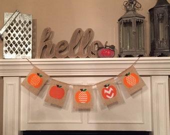Burlap Pumpkin banner