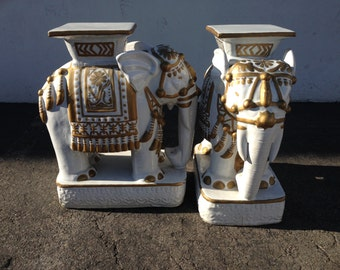 2 Vintage Elephant Garden Stool Plant Stand Chinoiserie Asian Ceramic Palm  Beach Inspired Hollywood Regency Seats