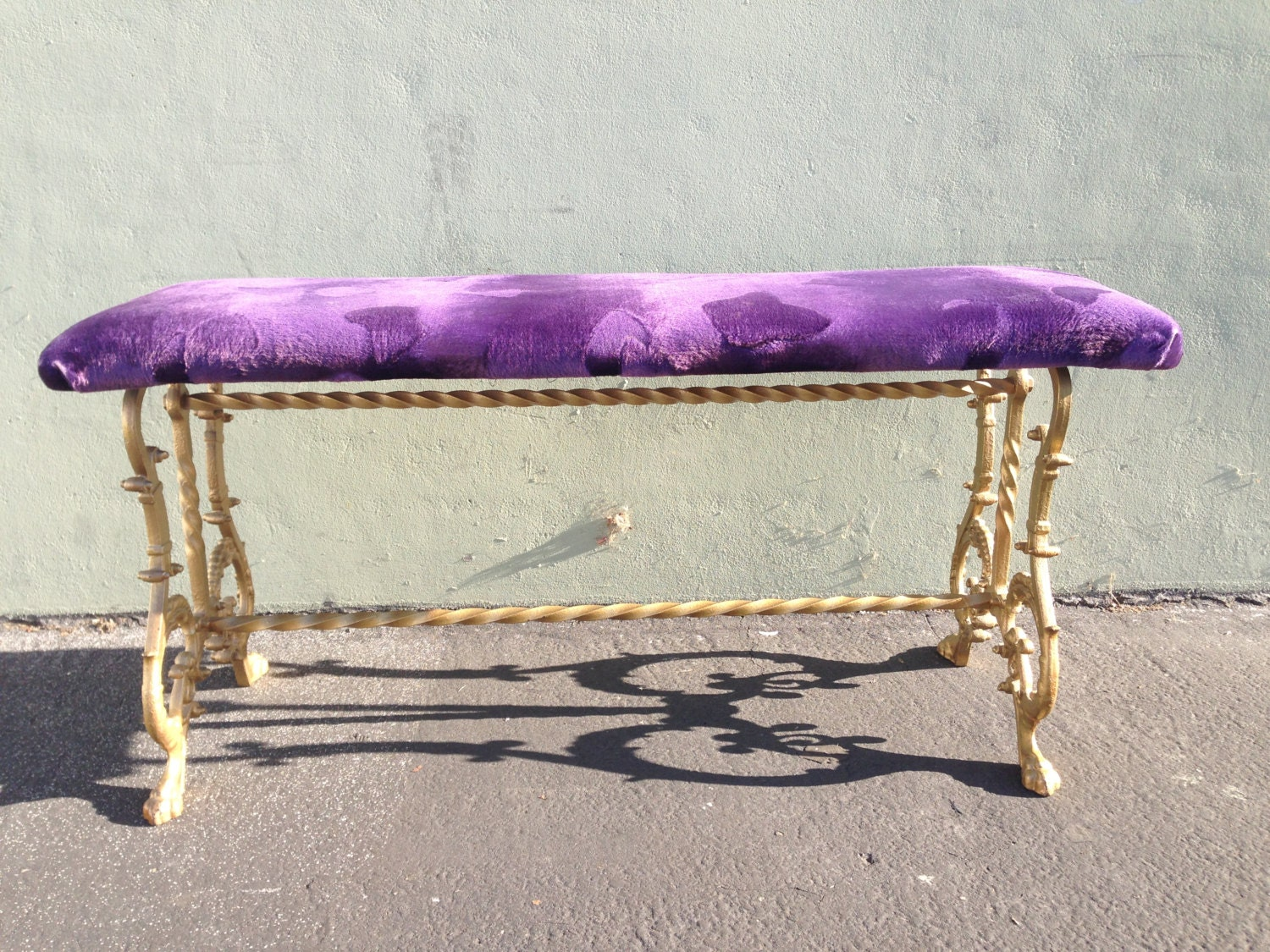 Antique Bench Victorian Art Deco Brass Gold Iron Bed French