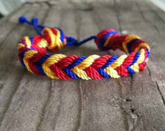 Venezuela colors bracelet. Team colors bracelet. Venezuela bracelet. Braided bracelet