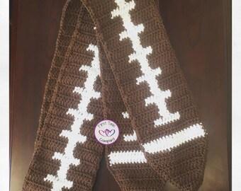 Football Scarf Crochet Pattern, football, football scarf, crochet scarf, scarf pattern, football pattern, football accessory, football